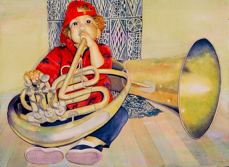A Girl and Her Horn, 2006, Watercolor