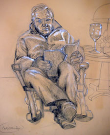 Eli reading, conte crayon on toned paper. Click to visit Eli's website.