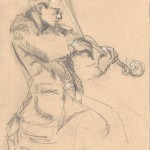 Eugene Drucker, Emerson Quartet, 2014, Graphite and Pastel on Toned Paper