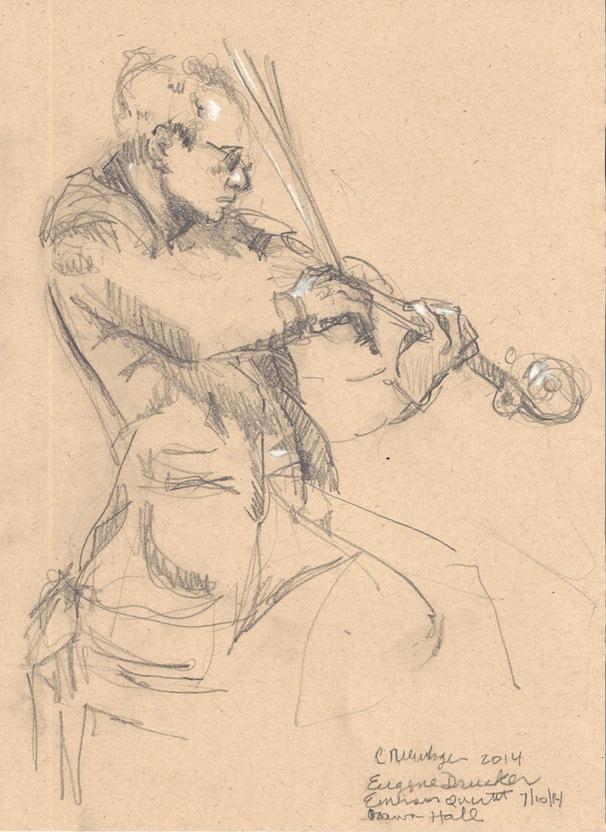 Eugene Drucker, Emerson Quartet, 2014, Graphite and Pastel on Toned Paper