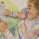 Girl, Reading, Watercolor
