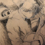 Jimmy Mazzy at the Sherborn Inn, 2014, Charcoal on Toned Paper