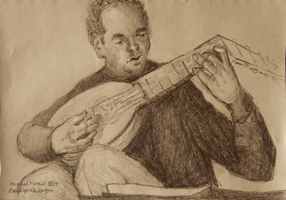Miguel Yisrael, Lute, 2014, Ink on Toned Paper