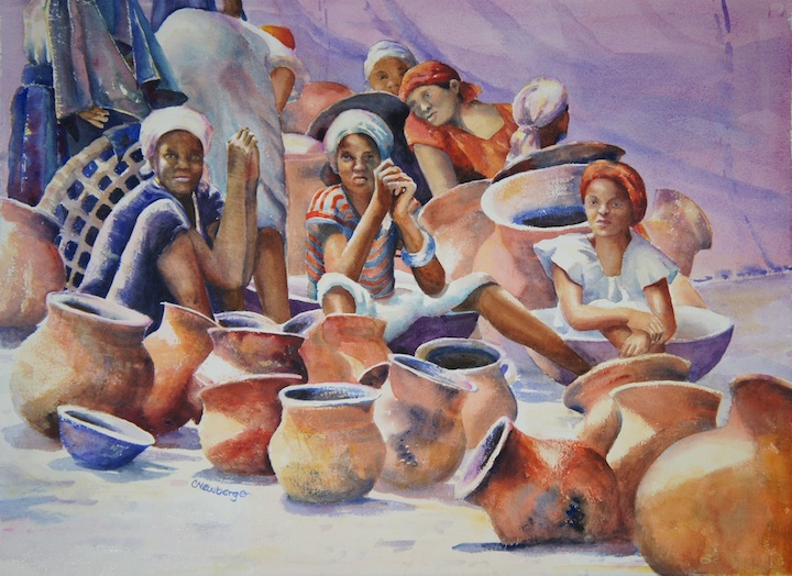 The Pot Sellers, 2013, Watercolor