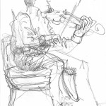 Violinist at Practice, 2013, Graphite on Paper
