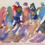 Tuareg Women Dancing in the Sand, 2011, Watercolor
