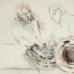 Tom Treece and Bob Carpenter, 2013, Pastel on Paper