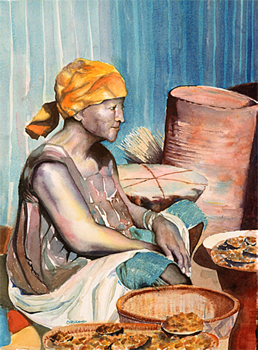Market Woman, Ouagadougou, Watercolor